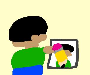 someone drawing self portrait