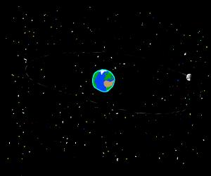 Earthincenterofspacewithstarsandmoonincorner