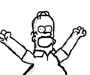 homer simpson in black and white