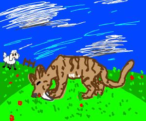 Sabertooth cat eating grass