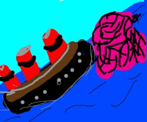 The titanic hitting a brain