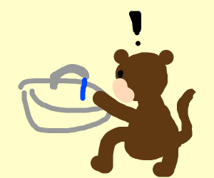 Monkey turns on faucet