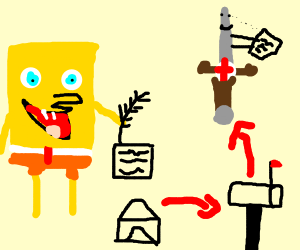 Spongebob writing a letter to a weopen