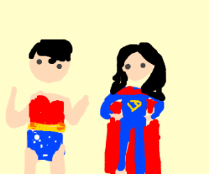 Superman and Wonder Woman swap clothes
