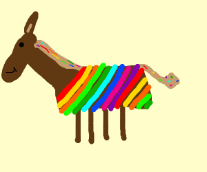A horse with a alot of colors