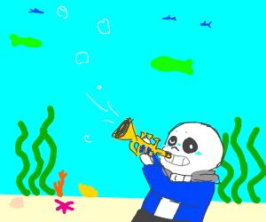Sans blows a trumpet underwater.