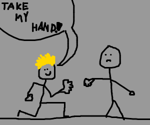 Blonde guy gives hand