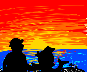 Fish&man in boat at sunset