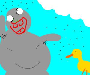 strange obese grey man feeds duck