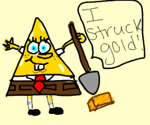 spongebob triangle pants found gold