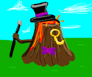 A fancy volcano with a top hat