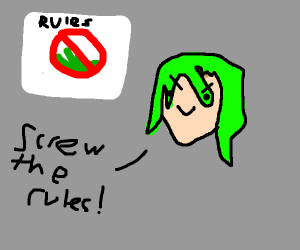 Green-haired lady breaks the rules