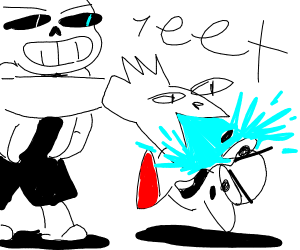 sans slams kirby in smash