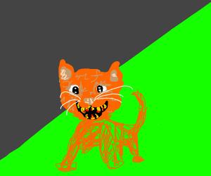 Horrifying cat with human teeth
