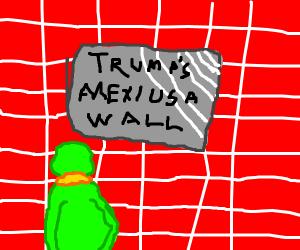 kermit stares at trump wall