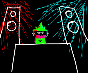 Ralsei in a party as the DJ