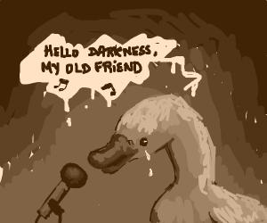 Hello darkness my old friend singing duck