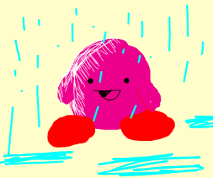 Kirby shimmering in the rain