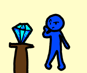 Blue man intruiged with diamond