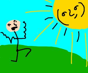 Crazy man skipping under a Lenny sun