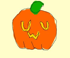 Pumpkin with yellow UWU on it (W under U's)