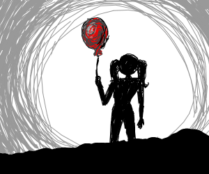Silhouette girl holding a red balloon