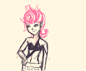 Confident pink haired girl