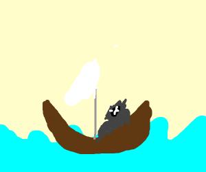 Gorilla on a Boat
