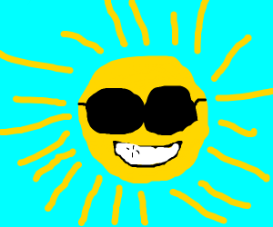 Sans wearing sun glasses