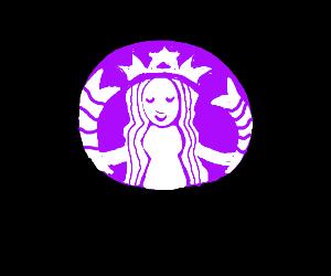 if starbucks logo were hawaiian and purple