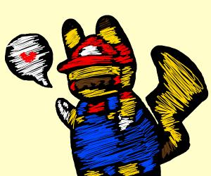 Pikachu dressed as Mario