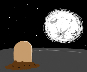 that one buried-alive pokemon looking at moon