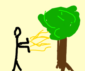 Roblox man releasing wind towards a tree