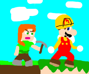 Minecraft chasing mario maker 2