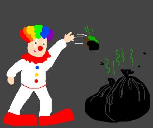 Clown throws trash