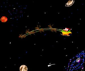Santa flying in soace