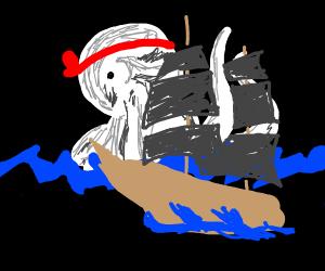 kraken about to kartate chop a ship in half