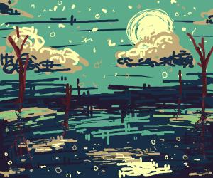 Sky reflection on a lake at night