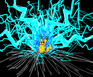 pikachu creating a electrical storm