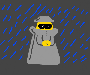 a dude in a coat in the rain