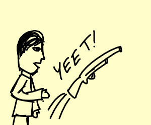 Person yeets a shotgun