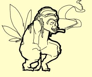 a rasta monkey getting high