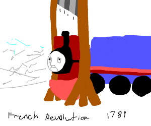 Thomas the tank engine being guillotined