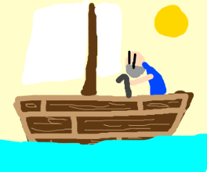Old man w/ cane finds himself on wooden ship.