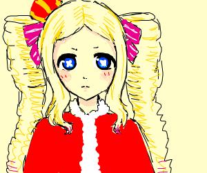 anime girl dressed as santa claus
