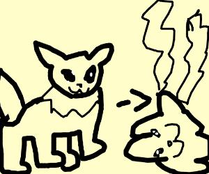 Eevee evolves into Vaporeon