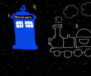 The TARDIS and a train