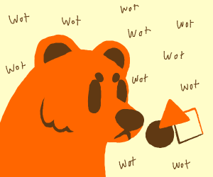 Orange bear confused by shapes