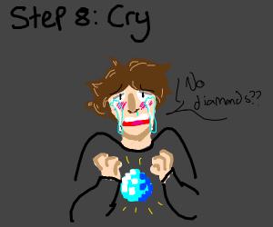 step 7: find no diamonds in minecraft