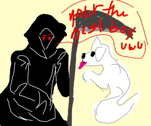 Grim Reaper tells doggo ghost he is the best.